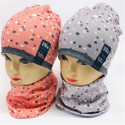 ambra комплект шапка двойной трикотаж+снуд (р.50-52) Viva for girl - фото 17173