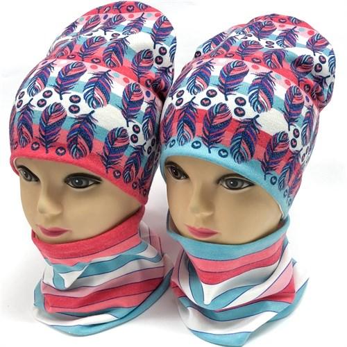 ambra комплект шапка двойной трикотаж + снуд (р.48-50, 52-54) перышки - фото 17187