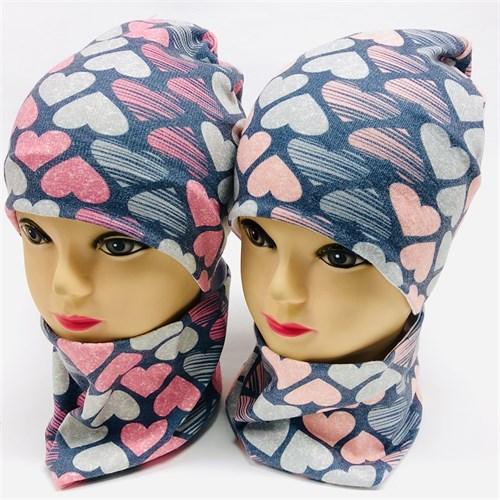 ambra комплект шапка двойной трикотаж + снуд (р.48-50) сердечки - фото 17205