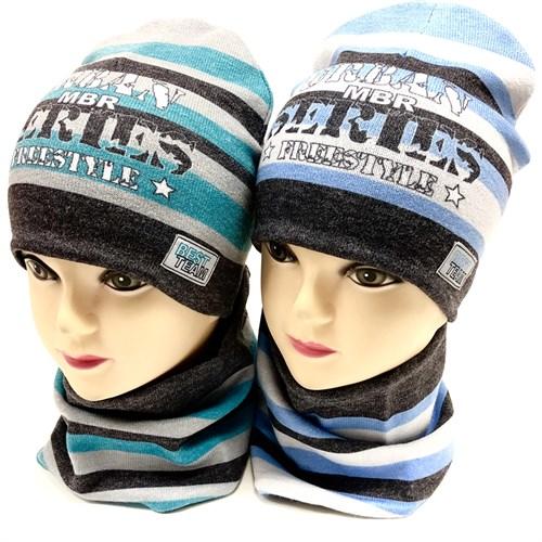 ambra комплект шапка двойной трикотаж + снуд (р 48-52) - фото 17209