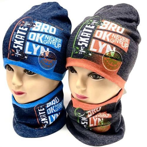 ambra комплект шапка двойной трикотаж + снуд (р 48-50) - фото 17242