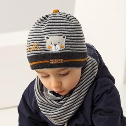 .AJS комплект 38-041 шапка одинарная вязка + манишка (р.44-46) - фото 17326
