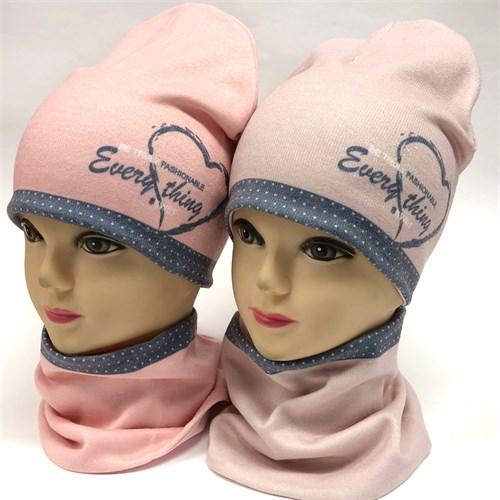ambra комплект шапка двойной трикотаж + снуд (р.48-50) сердце 2 - фото 17783