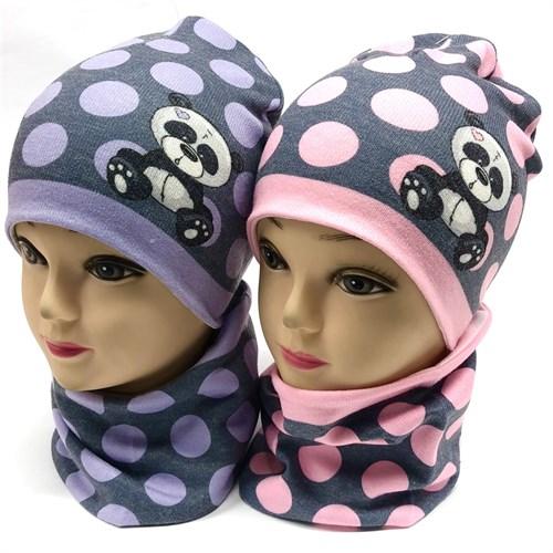 ambra комплект шапка двойной трикотаж + снуд (р.48-50, 52-54) панда - фото 17949