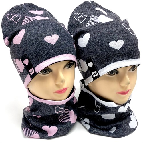 ambra комплект шапка двойной трикотаж + снуд (р.50-54) сердца MBR - фото 18059