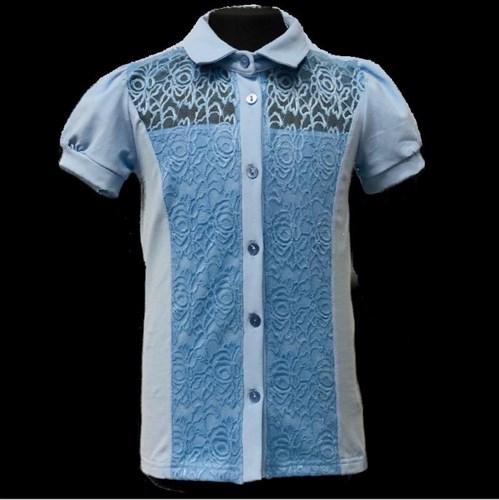 блузка ЛЮТИК модель 10113 короткий рукав, трикотажная, голубая (р.122,128,134,140,146) - фото 21793