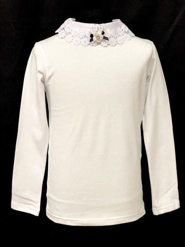 блузка ЛЮТИК модель 10109 длинный рукав, трикотажная, белая (р.128,134,140,146,152,158) - фото 21936