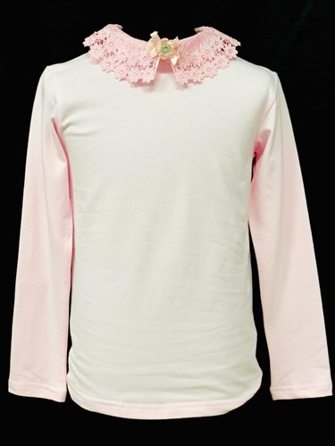 блузка ЛЮТИК модель 10109 длинный рукав, трикотажная, розовая (р.128,134,140,146,152,158) - фото 21938