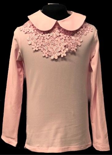 блузка ЛЮТИК модель 10108 длинный рукав, трикотажная, розовая (р.122,128,134,140,146) - фото 21941