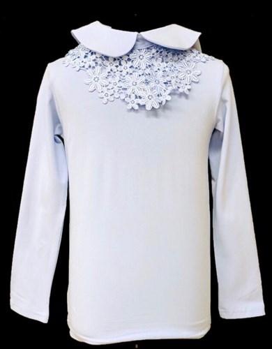 блузка ЛЮТИК модель 10108 длинный рукав, трикотажная, голубая (р.122,128,134,140,146) - фото 21943