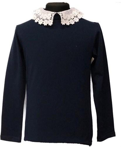 блузка ЛЮТИК модель 10109 длинный рукав, трикотажная, синяя (р.128,134,140,146,152,158) - фото 21948