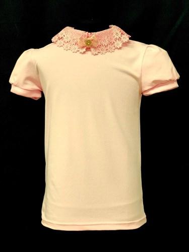 блузка ЛЮТИК модель 10109 короткий рукав, трикотажная, розовая (р.128,134,140,146,152,158) - фото 21954