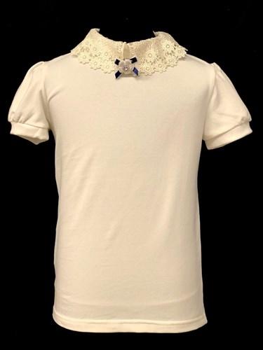 блузка ЛЮТИК модель 10109 короткий рукав, трикотажная, кремовая (р.128,134,140,146,152,158) - фото 21959