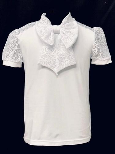 блузка ЛЮТИК модель 10110 короткий рукав, трикотажная, белая (р.128,134,140,146,152) - фото 21961