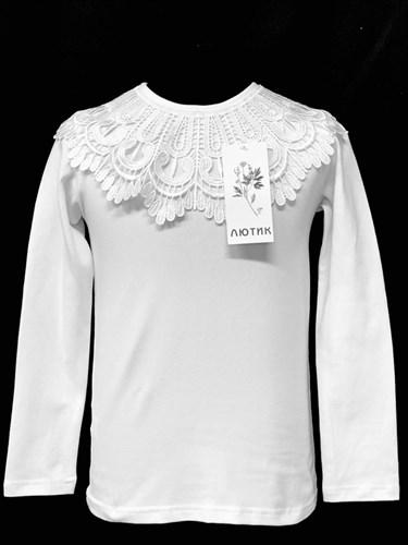 блузка ЛЮТИК модель 10107 д/р трикотажная, белая (р.128,134,140,146,152) - фото 21970