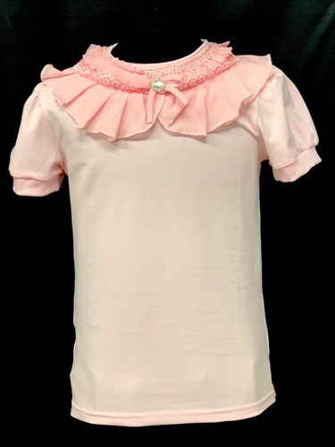 блузка ЛЮТИК модель 10103 к/р трикотажная, розовая (р.122,128,134,140,146) - фото 21977