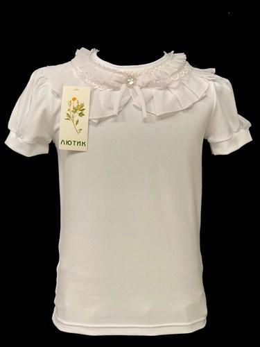 блузка ЛЮТИК модель 10103 к/р трикотажная,кремовая(р.122,128,134,140,146) - фото 21979