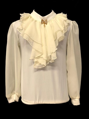блузка длинный рукав, жабо, кремовая (р.34-42) - фото 21992