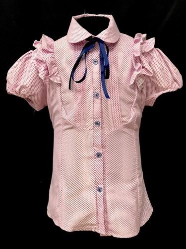 блузка  короткий рукав, горох,розовая (р.36-42) - фото 21995