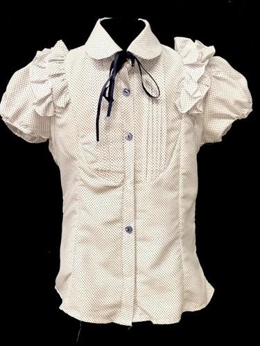 блузка короткий рукав, горох, белая (р.36,36,38,40,42) - фото 21997