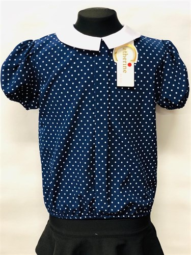 Catherine блузка короткий рукав, на резинке, горох2, синяя (р-ры128-152) - фото 22006