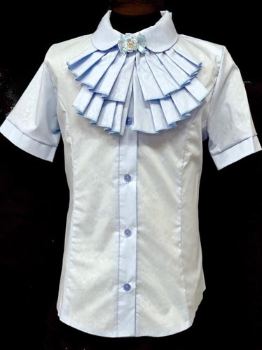 блузка ЛЮТИК модель 20192 короткий рукав, жабо, голубая (рост.128,134,140,146,152) - фото 22032