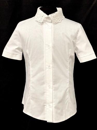 блузка ЛЮТИК модель 20188 короткий рукав, белая (рост128,134,140,146,152) - фото 22037