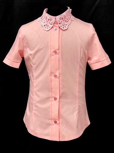 блузка ЛЮТИК модель 20188 короткий рукав, розовая(рост128,134,140,146,152) - фото 22039