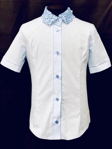 блузка ЛЮТИК модель 20188 короткий рукав, голубая (рост128,134,140,146,152) - фото 22041