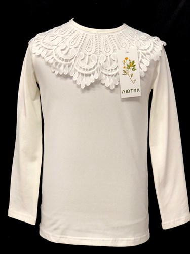 блузка ЛЮТИК модель 10107 д/р трикотажная, кремовая (р,128,134,140,146,152) - фото 22104