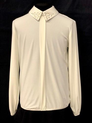 блузка длинный рукав, стразы, кремовая (р.36-42) - фото 22108
