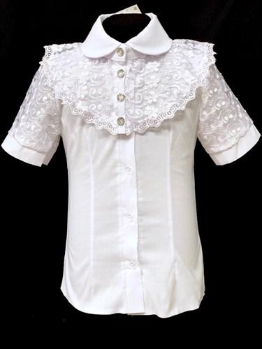 блузка ЛЮТИК модель 20190 короткий рукав, жабо, белая (рост 128,134,140,146,152) - фото 22114
