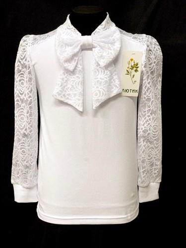 блузка ЛЮТИК модель 10110 д/р трикотажная, белая (р.122,128,134,140,146) - фото 22118