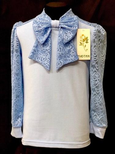 блузка ЛЮТИК модель 10110 длинный рукав, трикотажная, голубая (р.122,128,134,140,146) - фото 22120