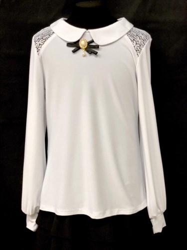 блузка длинный рукав, трикотажная, белая (р.36-42) - фото 22216