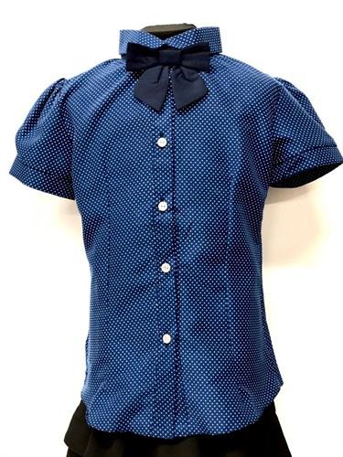 блузка кор.рук. синяя горох (р.38-42) - фото 22260
