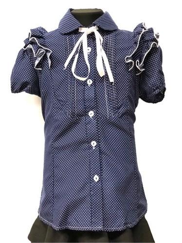 блузка для девочки БАНТИК кор.рук. синяя в горошек (р.36-40) - фото 22262