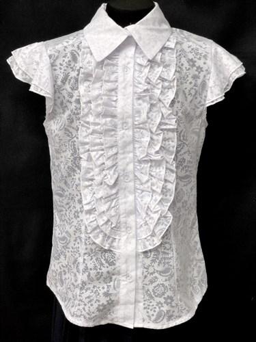 блузка ЛЮТИК модель 20143 подросток,рукава-крылышки узоры (р.140,146,152,158,164) - фото 22274