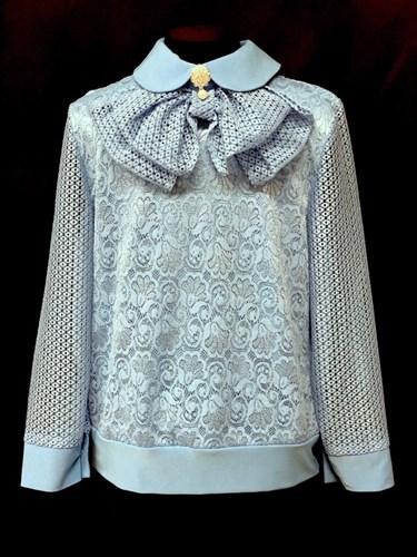 блузка ЛЮТИК модель 20170 длинный рукав, бант, голубая (рост128,134,140,146,152) - фото 22303
