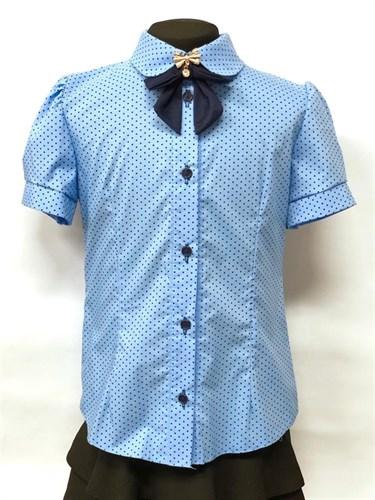 блузка ЛЮТИК модель 20166 кор.рук. в гороршек, голубая (рост128,134,140,146,152) - фото 22314