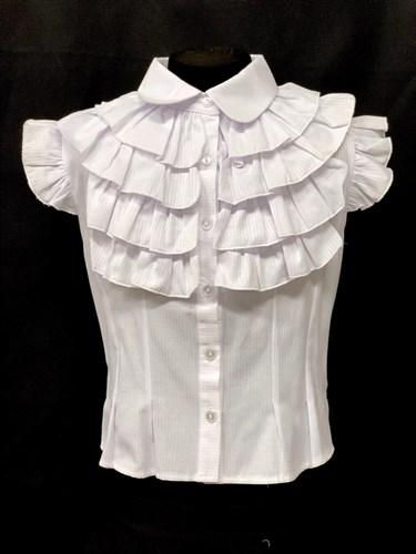 MAGICjunior модель 117 блузка, рукав крылышки, белая(р-ры.134,140,152,158) - фото 22389
