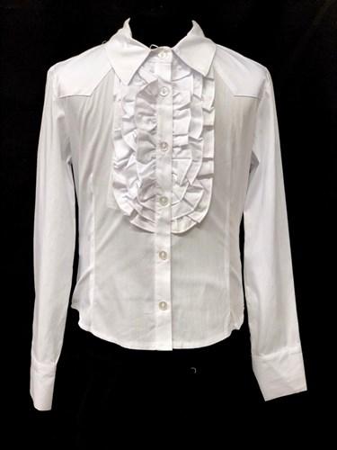 Mikrus модель M3501 блузка длинный рукав, белая (р-ры.128-158) - фото 22392