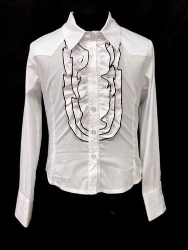 Mikrus модель M3502 блузка длинный рукав, белая (р-ры.128-146) - фото 22394