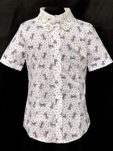блузка ЛЮТИК модель 20191 короткий рукав, бантики, белая (рост 128,134,140,146,152) - фото 22396