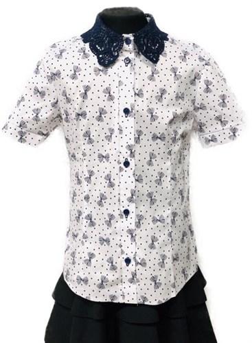 блузка ЛЮТИК модель 20191 короткий рукав, бантики, белая (рост 128,134,140,146,152) - фото 22397