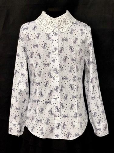 блузка ЛЮТИК модель 20191 длиный рукав, бантики, белая (рост 128,134,140,146,152) - фото 22401