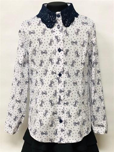 блузка ЛЮТИК модель 20191 длиный рукав, бантики, белая (рост 128,134,140,146,152) - фото 22403