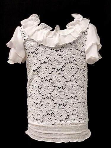 блузка крылышки, гипюр, белая (р.28-38) - фото 22410