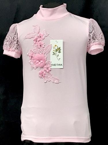 блузка ЛЮТИК модель 10114 к/р трикотажная, розовая (р.122,128,134,140,146) - фото 22532