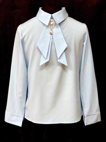 AGATKA блузка длинный рукав, съёмный галстук, голубая (р.128-158) 6 шт. - фото 23077